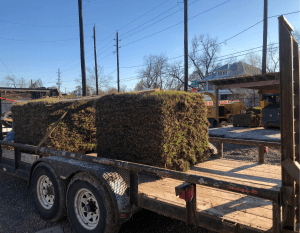 image of pallets of grass on trailer
