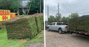 image of grass pallets loaded on trailer