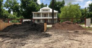 image of black or brown mulch in yard
